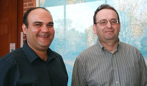 Doctoral student Larousse Khosravi Korashad and Professor Alexander Govorov