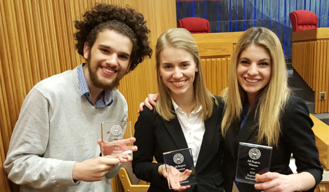 From left to right: Noah Allen, Sarah Welch, and Hannah Caldwell with their awards from the Pittsburgh Regional Competition.