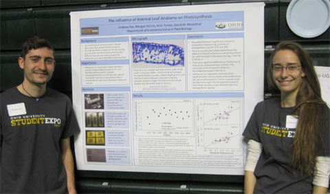Undergraduate students Andrew Fox and Morgan Varner at Expo standing with their poster.
