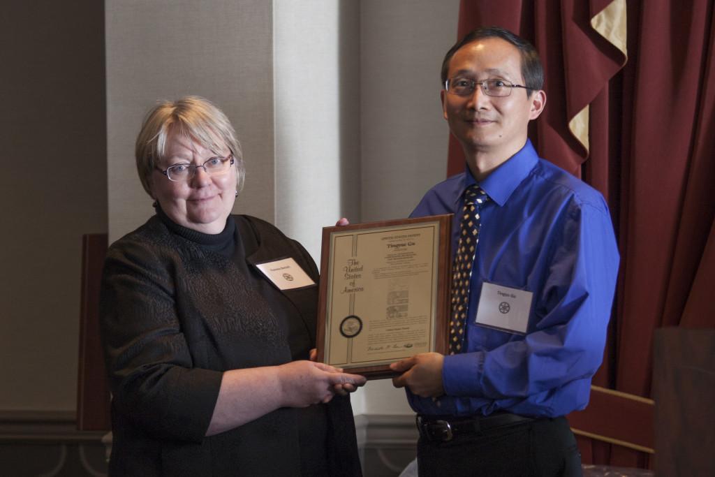 Executive Vice President and Provost Pamela Benoit and inventor Tingyue Gu. Photo: Kaitlin Owens.