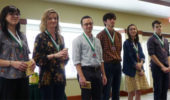 Environmental & Plant Biology seniors honored at the Medal Ceremony, from left: Emily Spearman, Haley McAleer, Isaac Pouliot Adam Cook, Megan Osika, Christopher Benson. Not present: Nicolette Anderson and Nathan Becker.