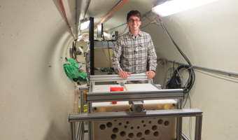 Meisel works at taking the detector apart. He stands behind the polyethylene blocks that hold the detectors and slow down the neutron in the Time-of-Flight tunnel in the Accelerator.
