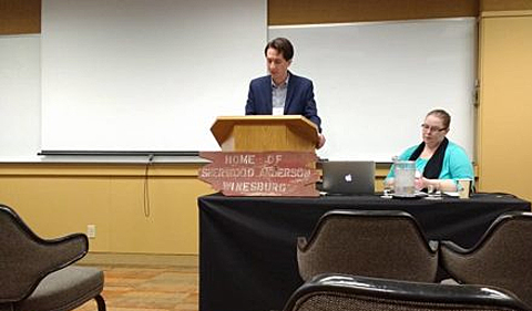 Aaron Babcock speaks at the Society for the Study of Midwestern Literature