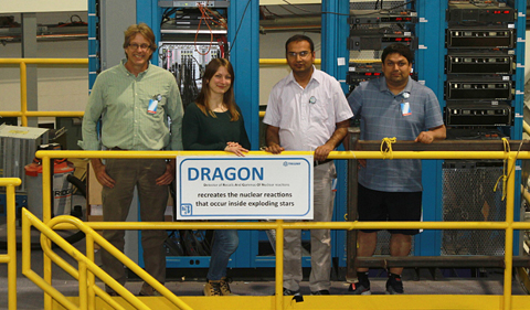 Scientists study stars called red giants to better understand processes such as nuclear fusion—the dominant source of energy for stars in the universe. L to R: Dr. Carl Brune, Dr. Annika Lennarz, a Postdoctoral Researcher at TRIUMF, OHIO doctoral students Som Nath Paneru, and Rikam Giri