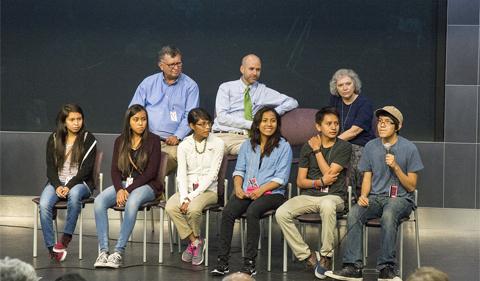 George Csicsery, Bob Klein and Tatiana Shubin with Navajo Math Circle students at NSA