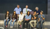 George Csicsery, Bob Klein and Tatiana Shubin with Navajo Math Circle students at NSA. Photo by NSA.