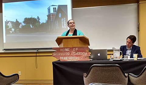 Kristin Distel presents her paper at the Society for the Study of Midwestern Literature.