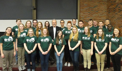 Tri Beta Xi Phi chapter with Dr. John Kopchick in March.