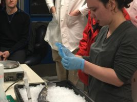 Graduate Student Amanda Biederman in Lab at Palmer Station