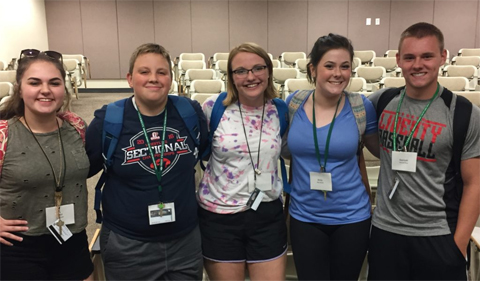 Students of SLTI, left to right: Lori Smith (Jackson, OH), Nicholas Hacker (Albany, OH), Ellen Gill (Barlow, OH), Molly Moore (Jackson, OH), and Samuel Slyss (Fairdale, WV)