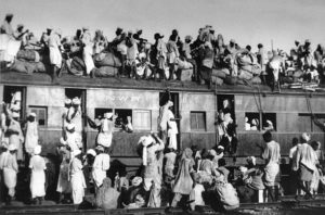 Displaced people aboard train during the Partition