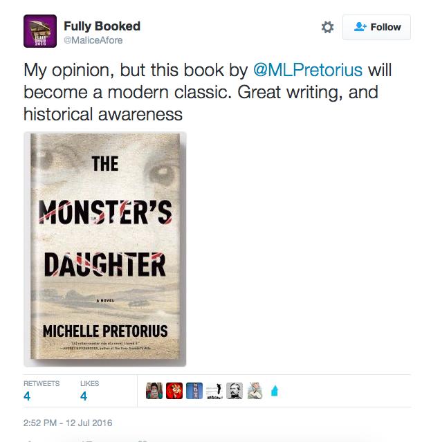 Tweet praising Michelle Pretorius's novel