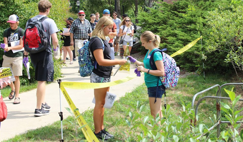 """STEMstart students investigate a """"crime""""on campus, then head to the lab to test the """"evidence."""""""