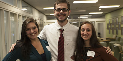 Department of Sociology and Anthropology Awards Gala Ceremony for Sociology and Anthropology Undergraduate and Sociology Graduate Students. ©Ohio University/ Photo by Kaitlin Owens Lambda Alpha 2016 initiates pictured: Abigail Guerra, Ian Thompson, Courtney Stephan