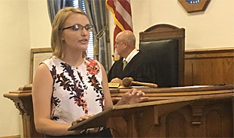 Summer Law and Trial Institute Student Ellen Gill, who acted as one of the prosecutors, addresses the jury