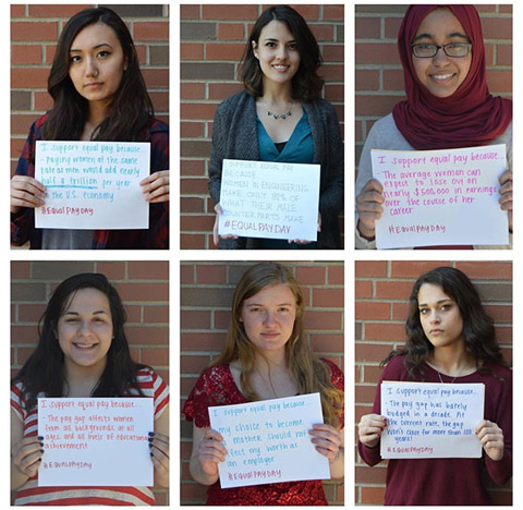 Pictured are some of the messages Margaret Boyd Scholars posted to social media this past spring in honor of Equal Pay Day.
