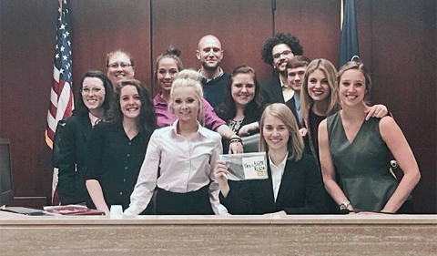 Mock Trial team march 2016 in court chambers