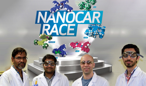 Nanocar participants Karthi Perumal, Kondalarao Kotturi, Mersad Raesi and Ramin Rabbani, shown with the Nanocar Race logo and images of six nanocars behind them.