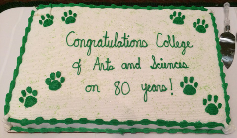 Faculty and staff opened the fall semester by celebrating the college's 80th anniversary with cake.