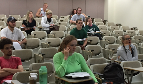 Students glean tips from Professor Bruce's lecture prior to the LSAT.