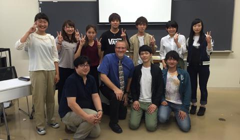 Dr. Christopher Thompson (blue dress shirt) with IPU's Dr. Tomomasa Sasa (left of Thompson) and his nine student who will study English in OPIE in March of 2017. Next to Thompson, from left: Takahiro Kudo, Ryuji Kato. Back row, from left: Mebuki Araya, Minori Sasaki, Kyoko Sugawara, Fumiaki Murayama, Kenta Takahashi, Nodoka Ito,and Yuna Watanabe.