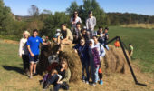 Global Studies Program learning community meet with the OPIE learning community at Libby's Pumpkin Patch.