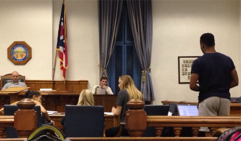Team White attorney Kareem Dixon directing his witness, Tim Schilling.