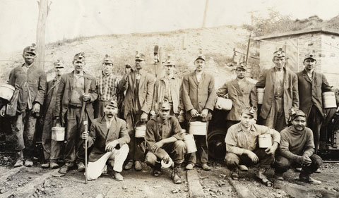 Old photo of coal miners in Appalachia