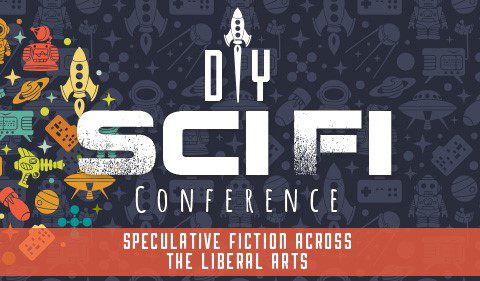 space icons graphic for DIY Sci Fi Conference on Speculative Fiction Across the Liberal Arts