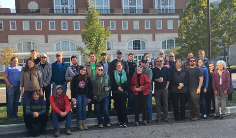 "Alumni returned in October to ""relive the dig"" during Ohio Archaeology Month. Group photo outside of Baker University Center."