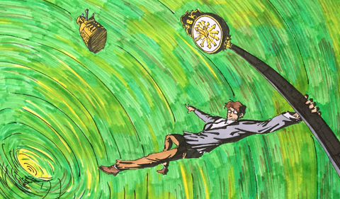 Artist concept of Doctor Who lifting off from Baker University Center Illustration by Peter Zeisler