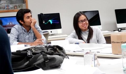 Phally Ngoeum (right) and Md Nazimuddin (left) enjoy class discussions. Phally Ngoeum (right) and Md Nazimuddin (left) enjoy class discussions.