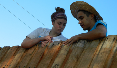 Students building homes with TECHO in Paraguay Service Learning program.