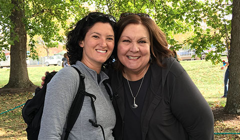 Della Winters and Christine Mattley, Associate Professor and Chair at Department of Sociology and Anthropology Tailgate Event during 2016 Homecoming