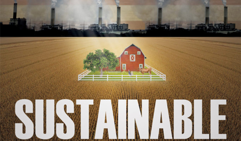 Sustainable movie flier with farm and factories