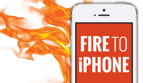 Fire to iPhone theme logo, with flames on an iPhone.