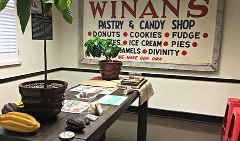 Room at Winans Chocolates and Coffess including table with information and chocolate and coffee plants