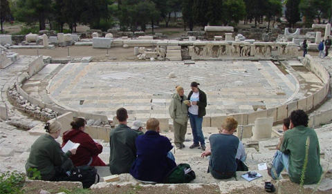 Greek in Greece program photo with students at ruins