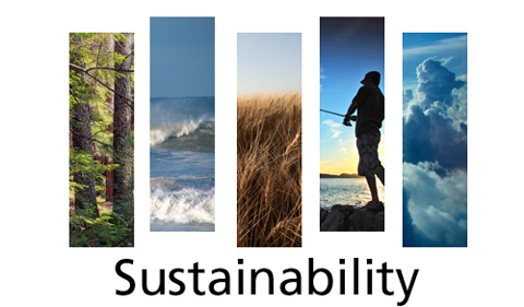 Sustainability logo, with five panels showing forests, oceans, fiels, man and atmosphere
