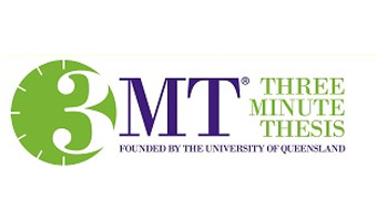 Three Minute Thesis Competition logo, Founded by teh University of Queensland