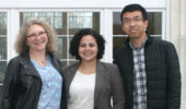 Drs. Nancy Sandler and Daiara Faria and doctoral student Dawei Zhai
