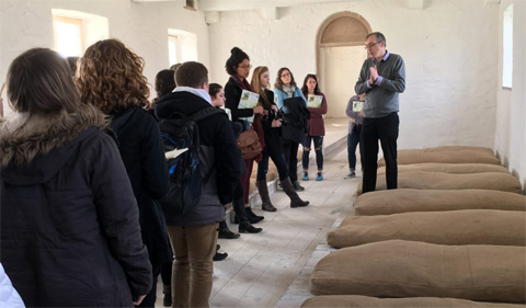 students touring an Irish workhouse in Portumna
