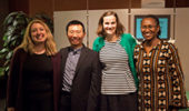 This year's University Professor recipients are (from left) Nukhet Sandal, Chao-Yang Lee, Beth Novak and Elizabeth Wangui. Photographer: Brady Menegay