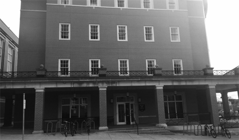 Bentley Annex, the building housing the History Department, in black and white photo.