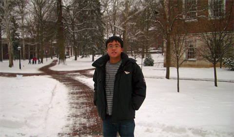 Tim Lo during his OHIO days, on a snow-covered sidewalk on the College Green.