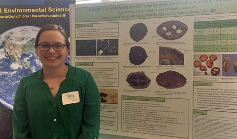 Stacy Welker presents her poster at the University of Michigan.