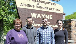 From left to right: Lynda Andrews (Wildlife Biologist at Wayne National Forest), Viorel Popescu (Conservation Ecologist at Ohio University), Kyle Brooks (myself), and Devon Cottrill (Wildlife Intern)