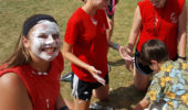 Throwing a pie in the face of a counselor is a favorite reward among campers. Kaylee Tomasek '17 shows off her whipped cream face.