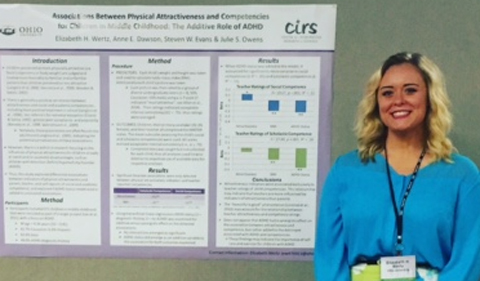 Libby Wertz '18 at the Association for Psychological Sciences conference in Chicago, shown here standing beside her research poster.