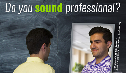 Mohammadhossein Firouznia discusses how to sound more professional after taking an English Language Improvement Program course. He is pictured here looking in a mirror.